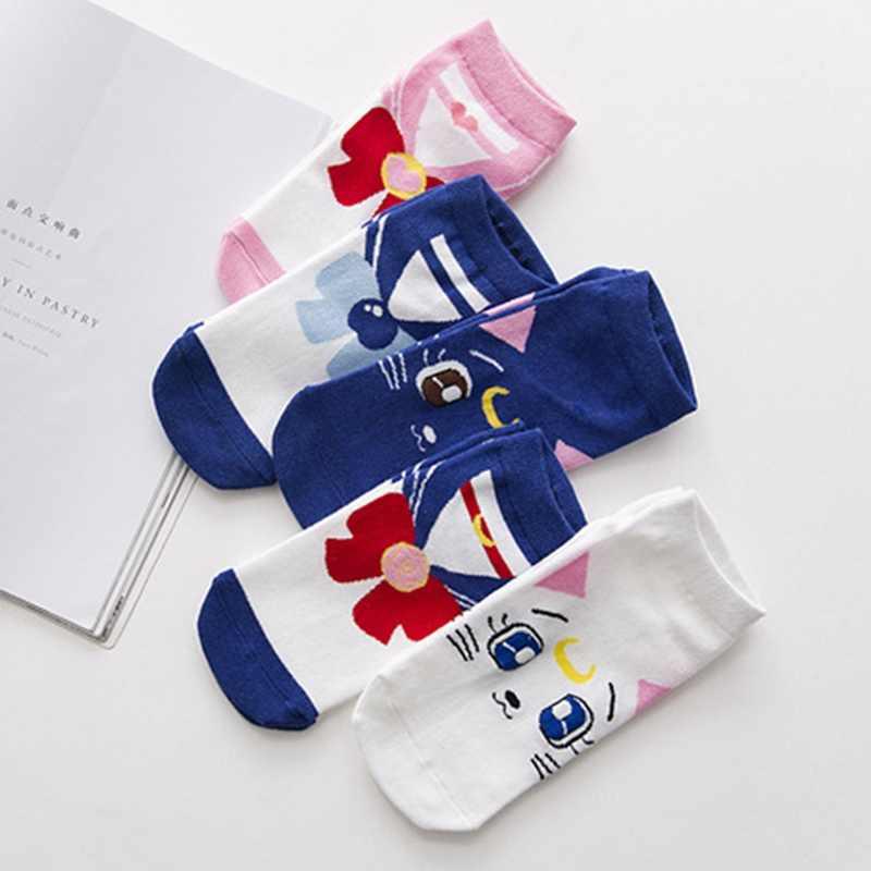 2018 Nova Moda Das Meninas Das Mulheres Meias de Algodão Anime Sailor Moon Tornozelo Meias Vestido Casual