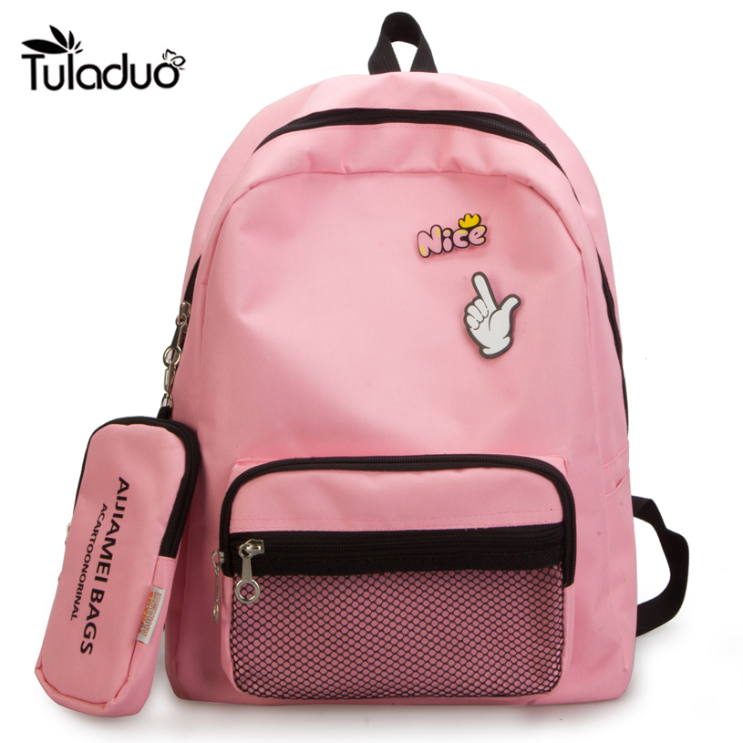 Naval style Women Backpack For Teenage Girls School Bag Rucksack Back Pack Canvas Cute Cartoon Hand Bookbag Set For Children