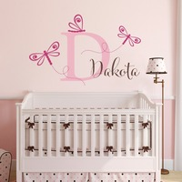 Dragonfly Wall Decals With Personalized Girls Name Little Cute Wall Decals Mural Home Kids Bedroom Sweet