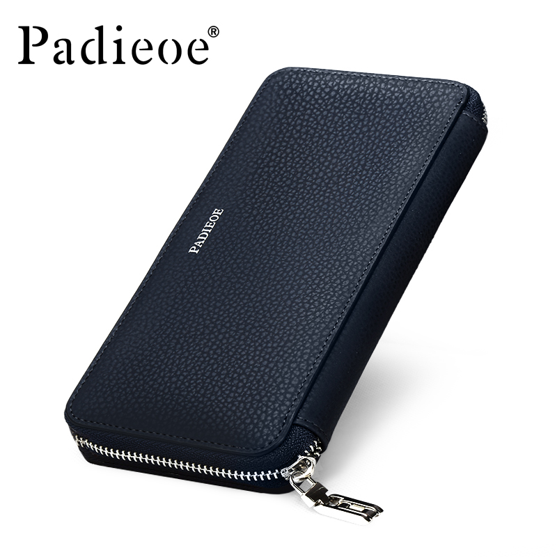 Padieoe Fashion Brand Men Wallets Split Leather Long Business Male Wallet Purse Clutch