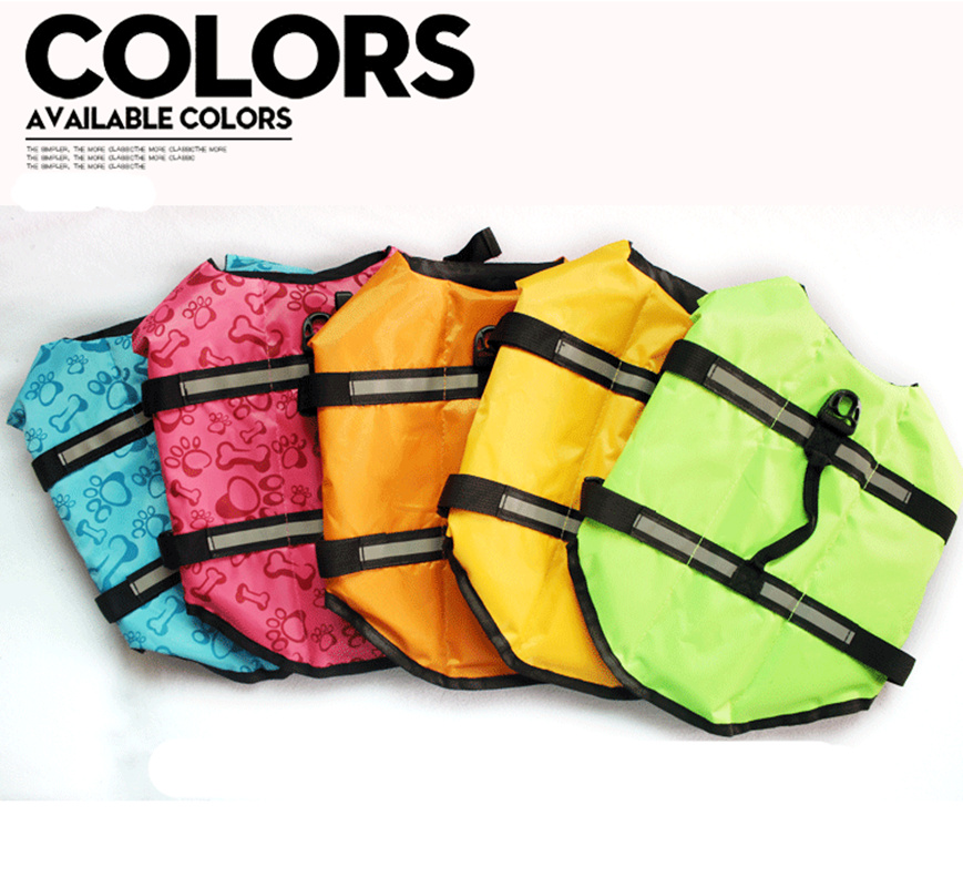 Dog Life Jacket Pet Saver Life Vest Swimming Preserver Dog Puppy Swimwear Surfing Swimming Vest Reflective Stripes XS XL