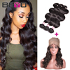 360 Lace Frontal With Bundles Brazilian Body Wave Virgin Hair 4 Bundles Human Hair Weave 360 Lace Band With Baby Hair