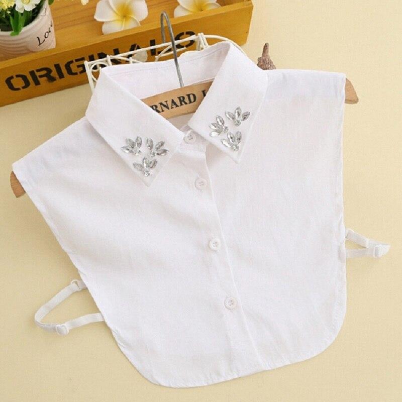 Fake Collar Shirt Rhinestone Vintage Elegant False Collar Blouse Solid Color Girls Detachable Collars for Women