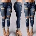 Mulheres Calças Apertadas Calças Jeans Boyfriend Jeans Rasgado Afligido Destruído 2016