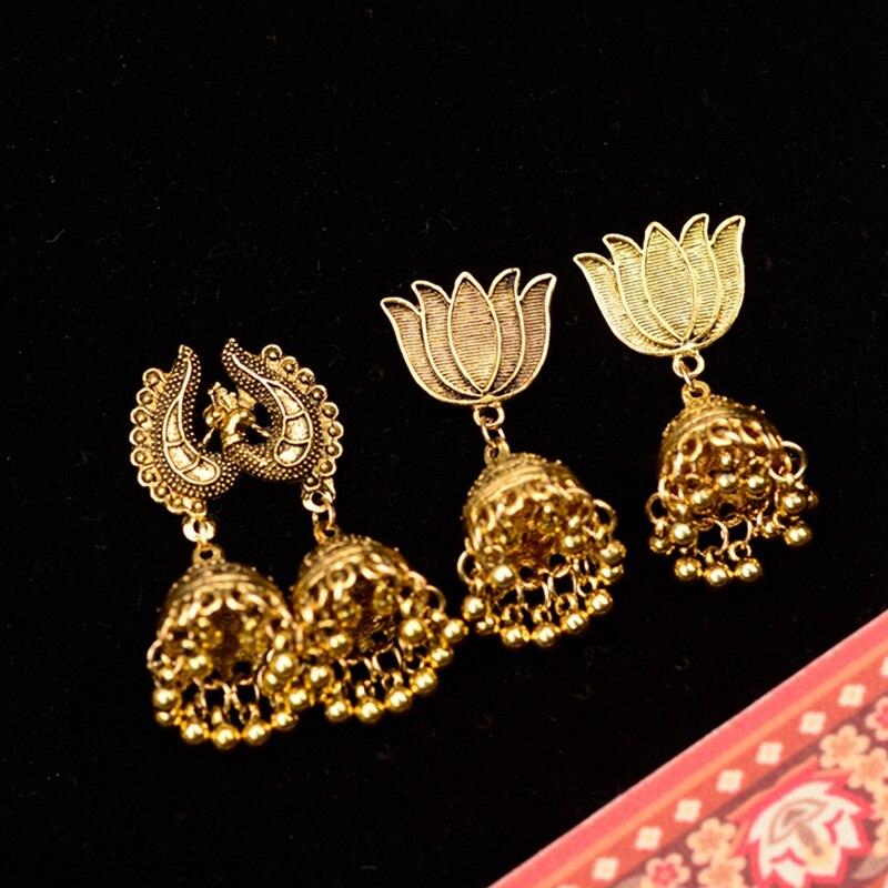 Douvei Ethnic Gold Jhumka Jhumki Drop Earrings For Women Boho Dangling Lantern Earrings Retro Jewelry Indian Jewelry Hxe080 Colours Are Striking Drop Earrings Earrings