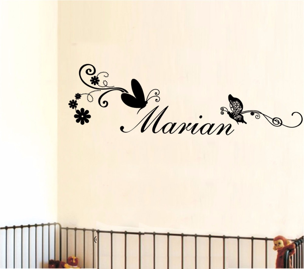 Butterflies Custom Personalised Name Wall Stickers Kid Girls Nursery Baby Decor