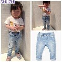 Shuzhi Новинка 2017 года fashiong детские джинсы для маленьких девочек узкие джинсы новорожденных джинсовые штаны цветок Белый леггинсы для девочек...