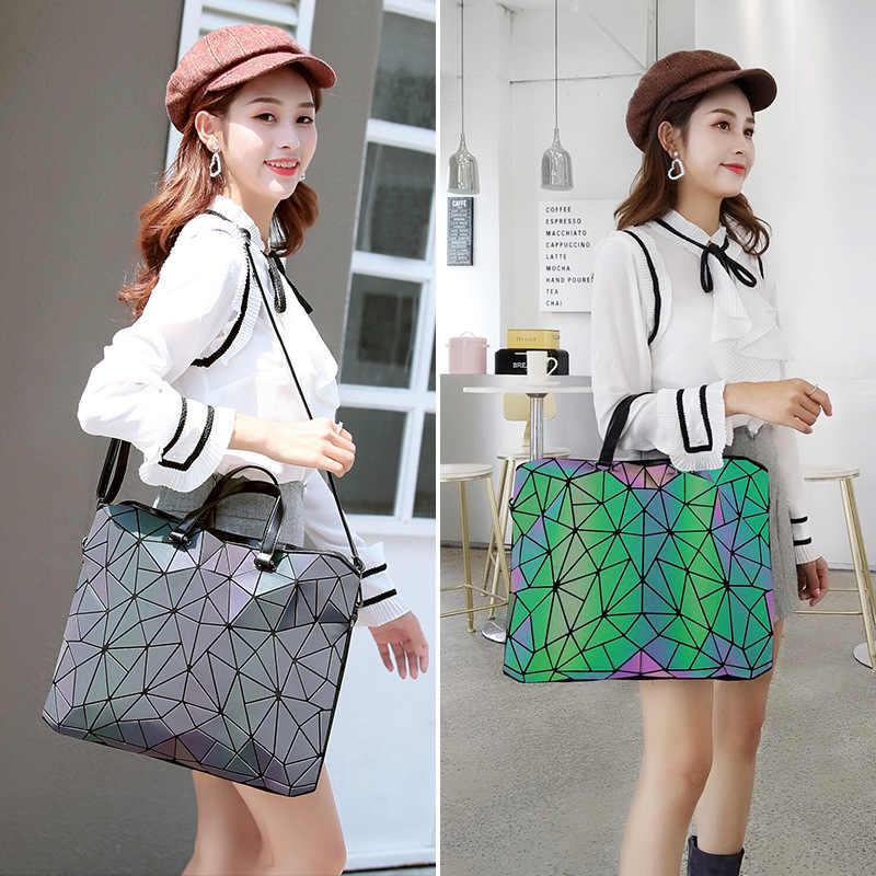 Transporte da gota moda feminina luminosa sac tamanho grande maleta diamante tote geometria bolsas de ombro simples dobrável bolsas bolso