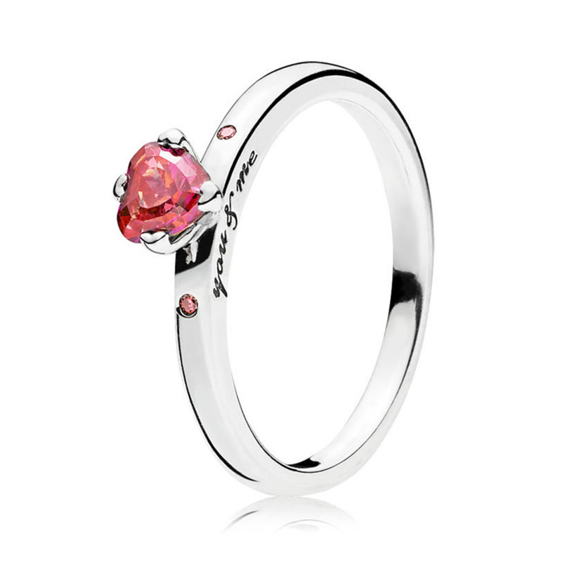 Fashion Original 925 Sterling Silver Romantic Love Heart You & Me Ring For Women Wedding Engagement Gift Fine Pandora Jewelry(China)