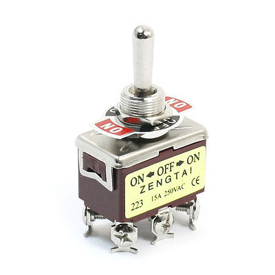 ON-OFF-ON DPDT Momentary Rocker Type Control Toggle Switch AC 250V 15A E-TEN223 on off on 3 positions 4pdt 12 pin terminal rocker type toggle switch ac 250v 2a mts 403