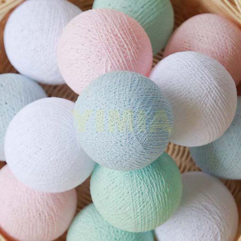 White Mint Pastel Pink Baby Blue Cotton Ball LED String Lights Christmas Garlands for Bedroom Wedding Kids room Nursery Party
