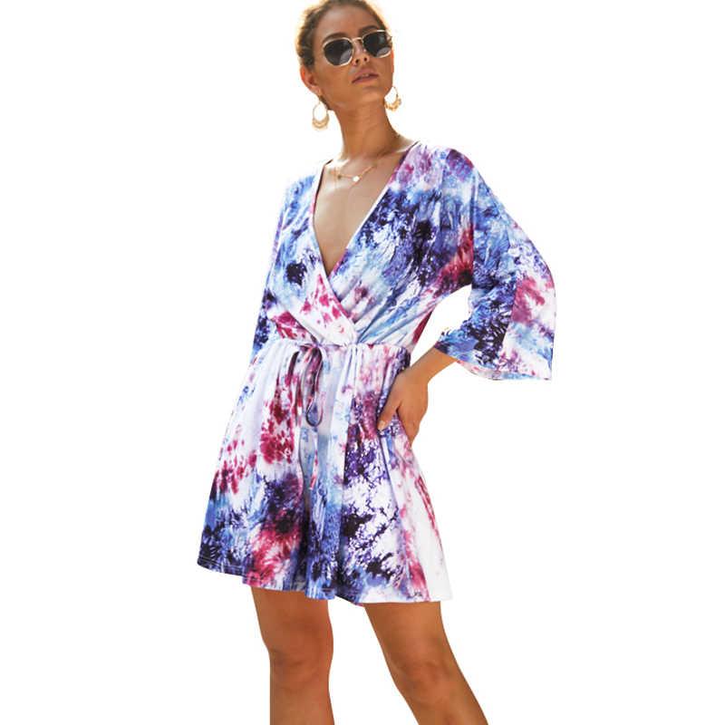 Комбинезоны для женщин комбинезон Бохо женский комбинезон контрастная Цветная Печать V шеи Drawstring талия короткий комбинезон летний спортивный костюм синий