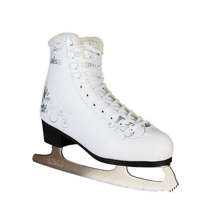 2018 nouveau adulte enfants enfants professionnel thermique chaud épaissir patinage artistique patins à glace chaussures avec lame PVC imperméable blanc