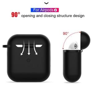Image 2 - Fundas de silicona para Airpods, funda protectora de lujo para auriculares Apple Airpods 2, funda a prueba de golpes con gancho