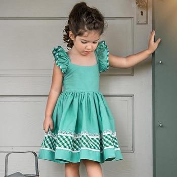 Ins vestido a cuadros sin espalda, de manga larga, verde, con cuello Halter, para verano, fiesta, vacaciones, volantes, niñas