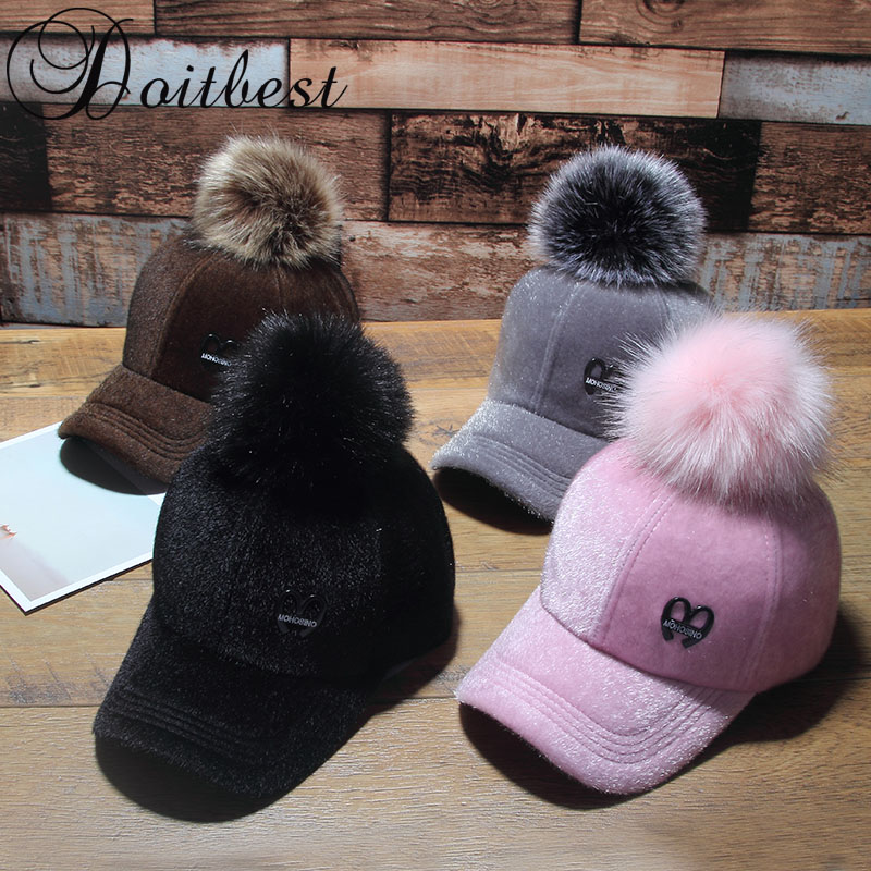 2017 Korean Child Hip Hop   Baseball     Cap   Wool fur hair ball kids Winter Hat Boys Girls solid snapback   Caps   Parent-child   caps