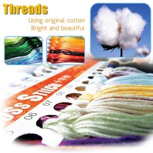 Image 4 - クロスステッチキット、刺繍裁縫セット、 DMC 11CT 印刷されたパターン家の装飾絵画、花 CKF0065