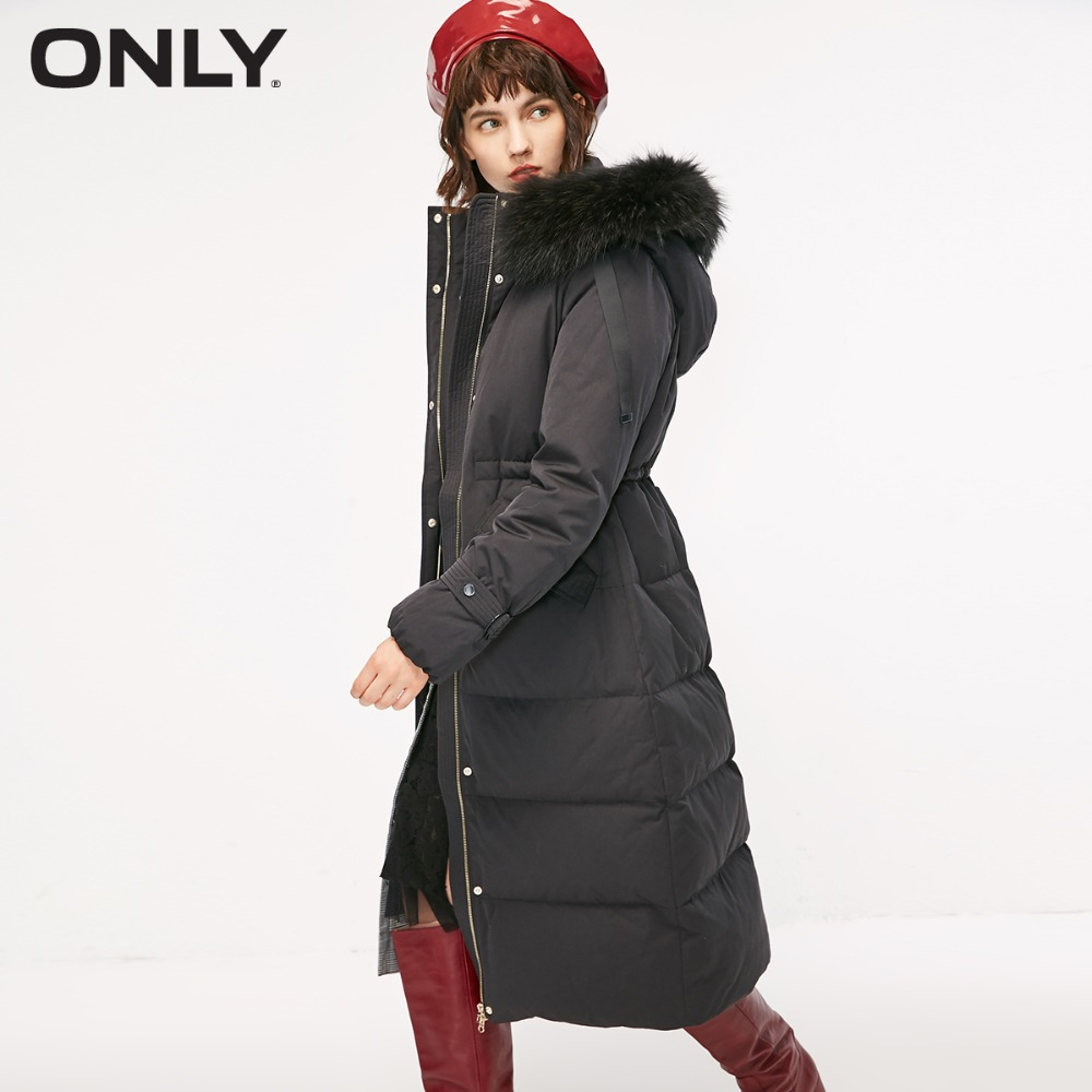 only-womens'-winter-new-drawstring-hooded-long-down-jacket-sleeve-buckle-decoration-waist-drawstring-design-118312531
