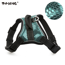 T-MENG Pet Products For Small Medium Dog Harness Vest Sparkling Genuine Leather Breathable Mesh Leash Large K9 5