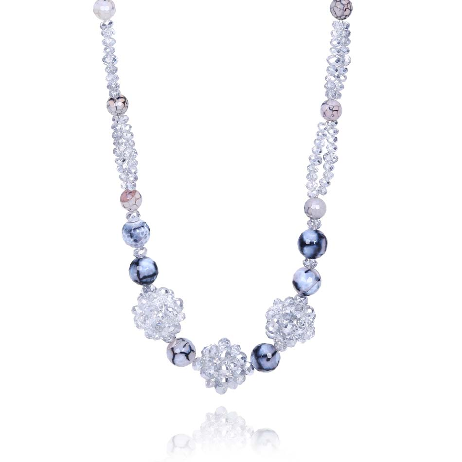 a203c0716c4 Natural Red Candy Blue Color Crystal And Beads Sparkling Strand Women  Necklace Jewellery