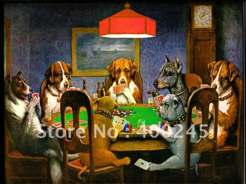 Canvas art oil paintings Dogs Playing Poker by C.M.Coolidge reproduction handmade modern lovely painting for room decor Framed