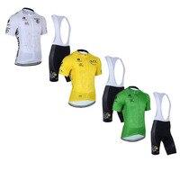 Klasyczne Tour de France, jazda na rowerze jersey zestaw mężczyzn Krótkimi rękawami klasyczne podkładka żelowa śliniaczka skrótów biały żółty zielony jazda na rowerze jersey zestaw MTB