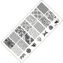 New 12x6cm Stamp Polish Steel Lace Butterfly Flower Nail Art Templates Sexy Image Stainless DIY Nail