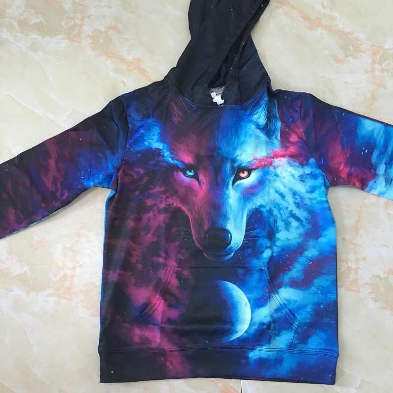 Gdzie światło i ciemność spotykają się przez JoJoesart Wolf 3D bluzy bluzy bluza z kapturem damska i męska Casual dresy moda marka bluzy z kapturem