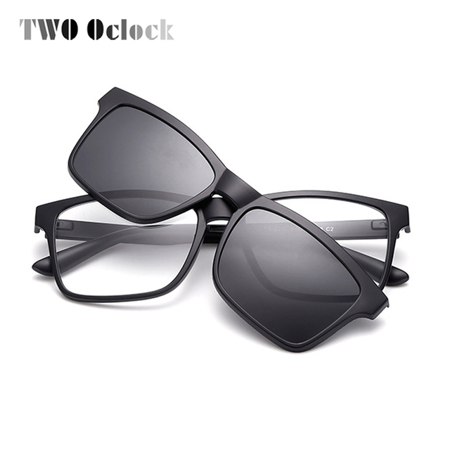 45c1216b3a8 TWO Oclock Ultra-light TR90 Square Polarized Clip On Sunglasses Men Women  Magnetic Eyewear For Prescription Myopia Glasses L2202