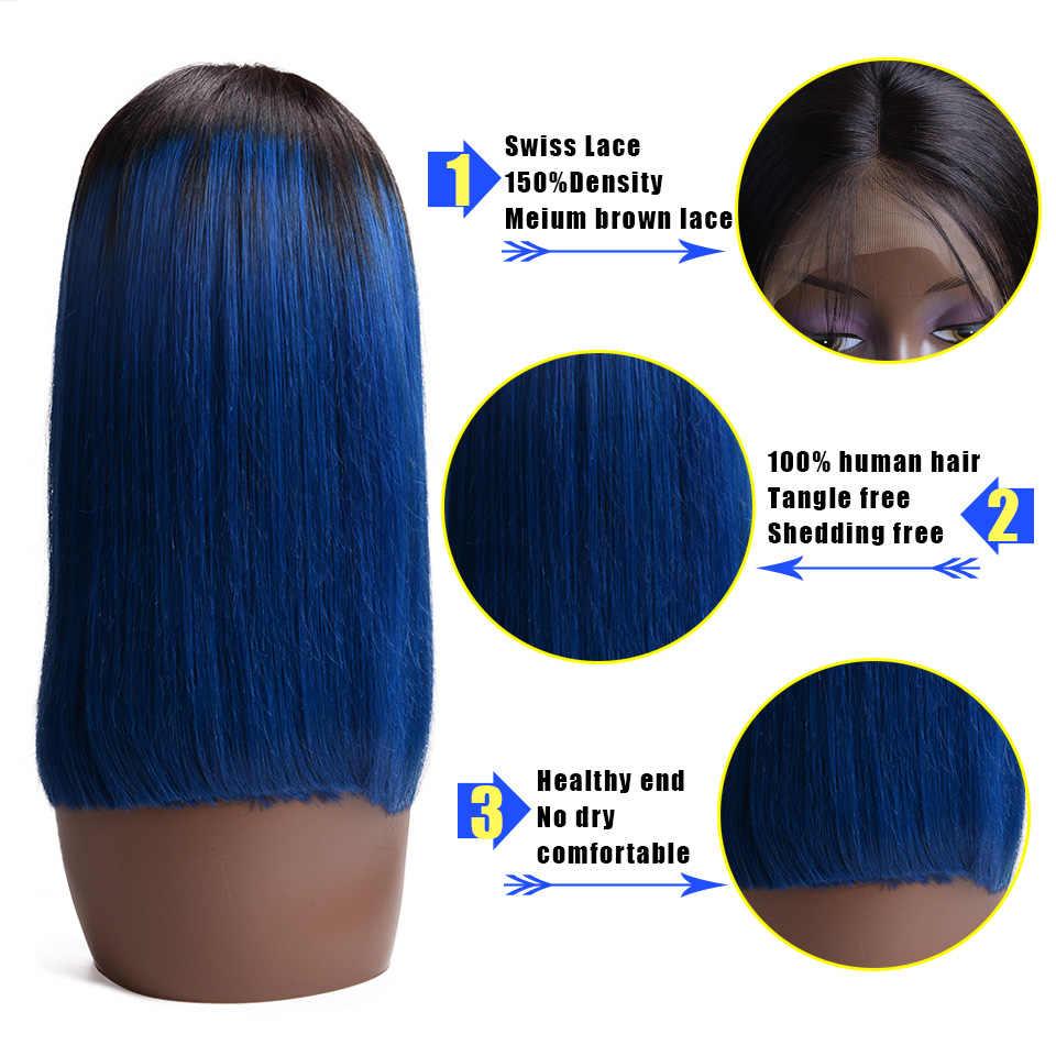 13x4 синий короткий боб парики 613 блонд Кружева передние парики для черных женщин бразильские волосы remy натуральные волосы 150% Плотность
