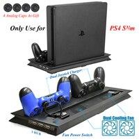 PS4 ТОНКАЯ вертикальная охлаждающая подставка с вентилятором и двумя джойстиками usb зарядная станция и 3 дополнительных концентратора для ...