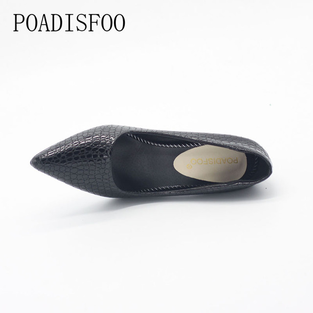 POADISFOO Woman Square Heel Pumps   Autumn Fashion Shoes Pu Shallow low-heeled Shoes With High Heel Pointed Shoes .LSS-888