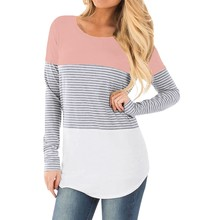 New large size women's shirt pregnant women color matching breastfeeding maternity dress long sleeve striped T-shirt clothes summer maternity wear striped breastfeeding short sleeve nursing dress pure color loose open forked long t shirt pregnant cloth