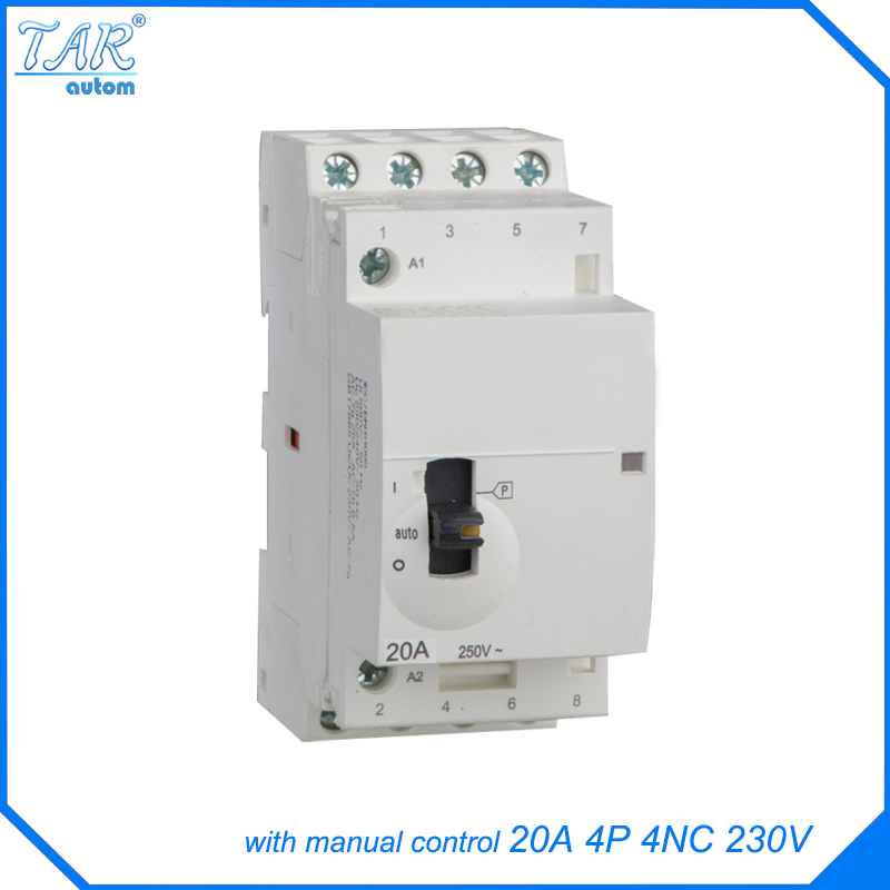Modular miniature household AC contactor 20A 4NC 220V 4P With manual override switch lc2k series contactor lc2k12105 lc2k12105m7 lc2 k12105m7 220v ac