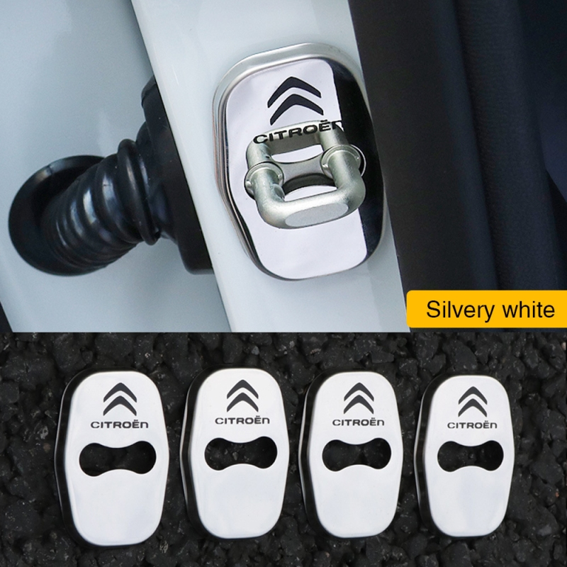 FLYJ 4pcs Car Door Lock Buckle cover Car sticker Latch Stop Anti Rust for Citroen C3 C4 grand picasso cactus C5 aircross tourer