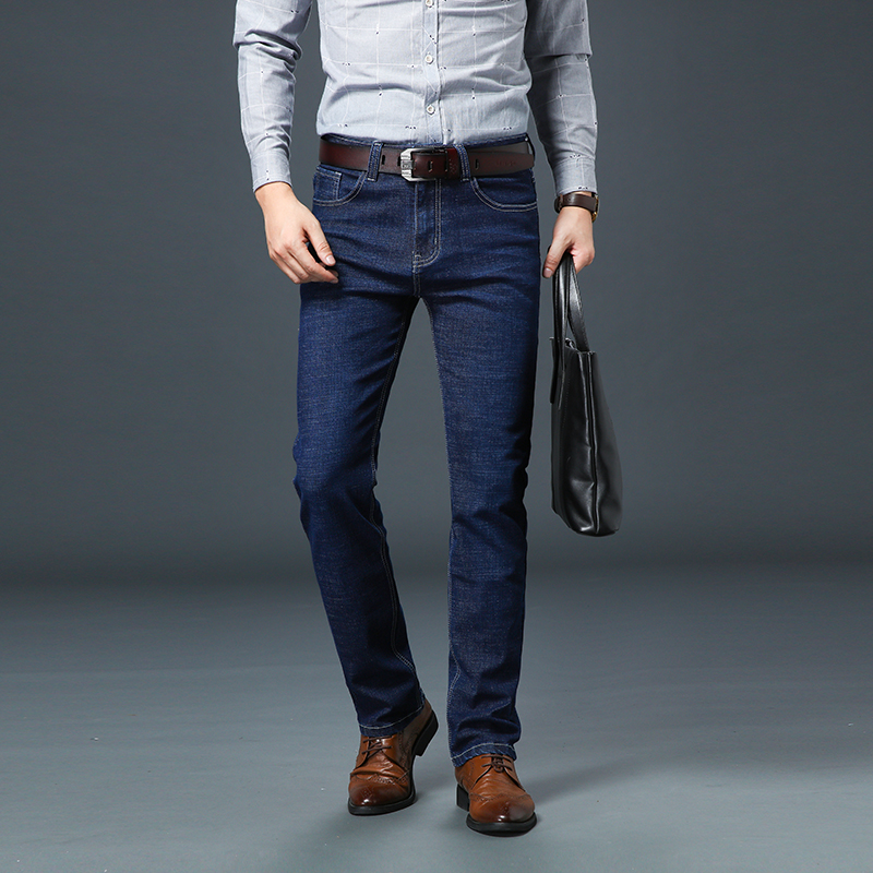 Jantour 2019 Spring Summer New Men's Straight Casual Jeans Men Fashion Denim Trousers Blue Male Pant Big Size 28-35-40-42-44-46
