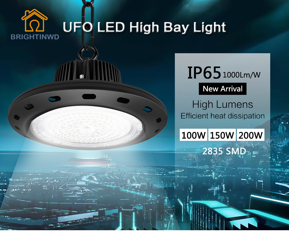 BRIGHTINWD UFO Mining High Bay Lights 100W 150W 200W SMD2835 High Power LED Industrial Light for Factory/Warehouse Machine Lamp 1pcs 50w 100w 150w led high bay light 150w led industrial lamp for sewing machine light factory warehouse stadium workshop