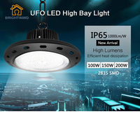 UFO Mining High Bay Lights SMD2835 High Power LED Industrial Light for Factory/Warehouse Machine Lamp 100W 150W 200W BRIGHTINWD
