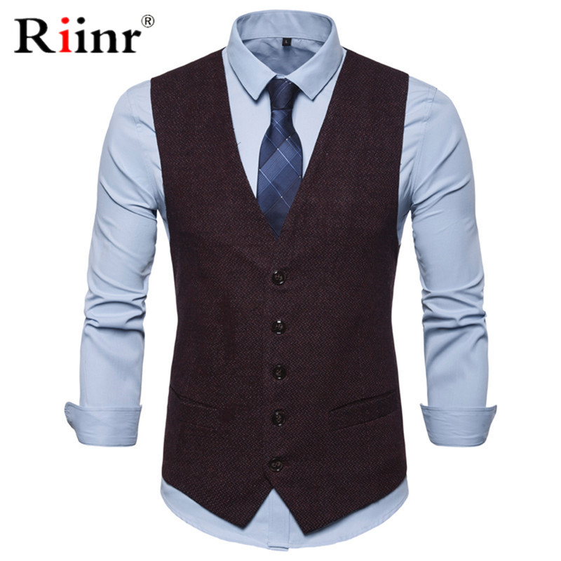 Mens Slim Fit Single Breasted Suit Vest 2019 Brand New Formal Dress Business Wedding Vest Waistcoat Men Solid Color Gilet Homme