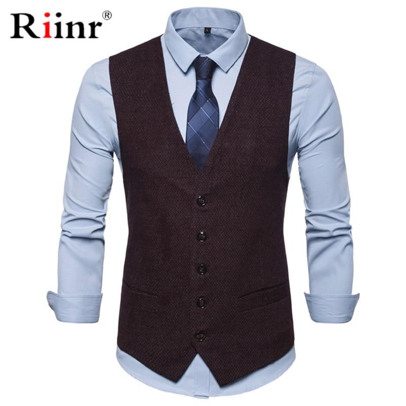 Mens Slim Fit Single Breasted Suit Vest 2019 Brand New Formal Dress Business Wedding Vest Waistcoat Men Solid Color Gilet Homme