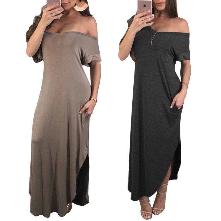 Women's Summer Off The Shoulder Dress Sexy V Neck Short Sleeve Loose Fit Long Beach dresses Vestidos Plus Size S-XXL MYF K9203