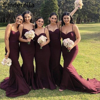 Cinderella Champagne Sweetheart Spaghetti Straps Mermaid Bridesmaid Dresses Zipper Back Trumpet Satin Fabric Bridesmaid Gowns фото
