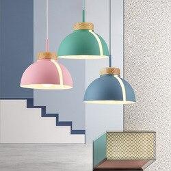 Lampa wisząca w stylu skandynawskim Woden lampa wisząca do oświetlenia domu nowoczesna lampa wisząca aluminiowy klosz LED żarówka oświetlenie kuchni E27 w Wiszące lampki od Lampy i oświetlenie na