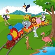 Laeacco Cartoon Train Safari Party Scene Baby Newborn Photographic Backdrops Customized Photography Backgrounds For Photo Studio