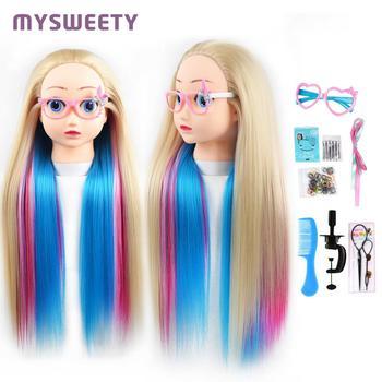 Maniquí profesional de 24 pulgadas con diseño de pelo de dibujos animados, cabeza de peluquería, maniquí de entrenamiento para niños