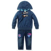 Fashion Lovely Children S Set Long Sleeve Cotton Hooded Coat Jeans Pants Suits Autumn Winter Baby
