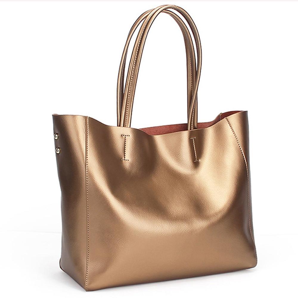 Zency Luxury Gold Women Shoulder Bag 100% cuero genuino bolso de gran - Bolsos - foto 3