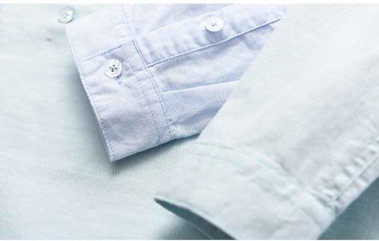 Yaz Yeni Marka erkek gömlek Slim Fit Keten gömlek erkekler uzun - Erkek Giyim - Fotoğraf 4