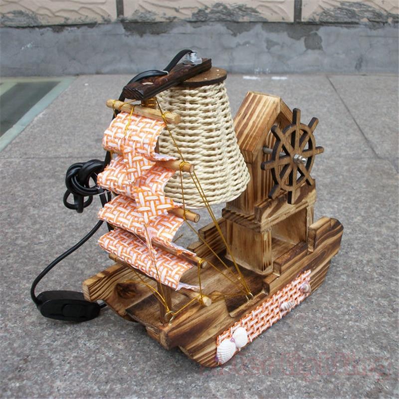 Handmade Sailing Boat Shape Night Light with Music Box for Children room home desk Light Birthday gift 220V EU Plug