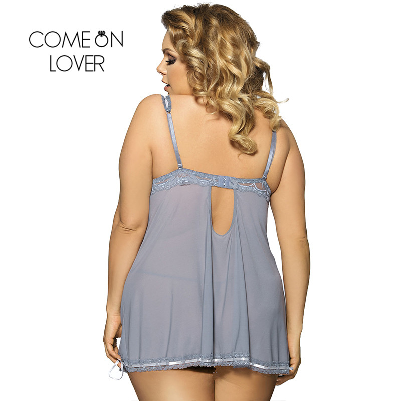 RI70149 Comeonlover Top Selling Sexy Lingerie Hot Lace Bows See Through Baby doll Sexy Lingerie Gray Color Babydoll Plus Size 1